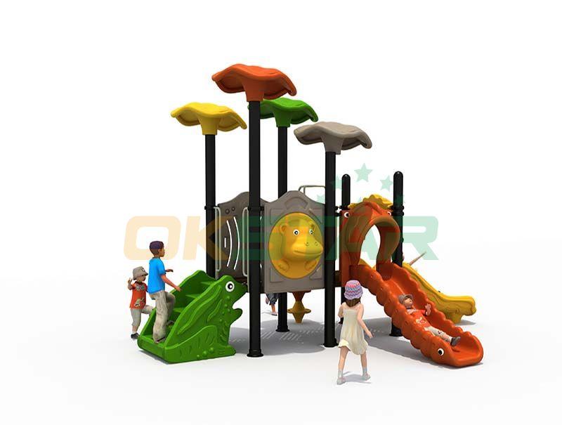 Children outdoor playground tunnel slides