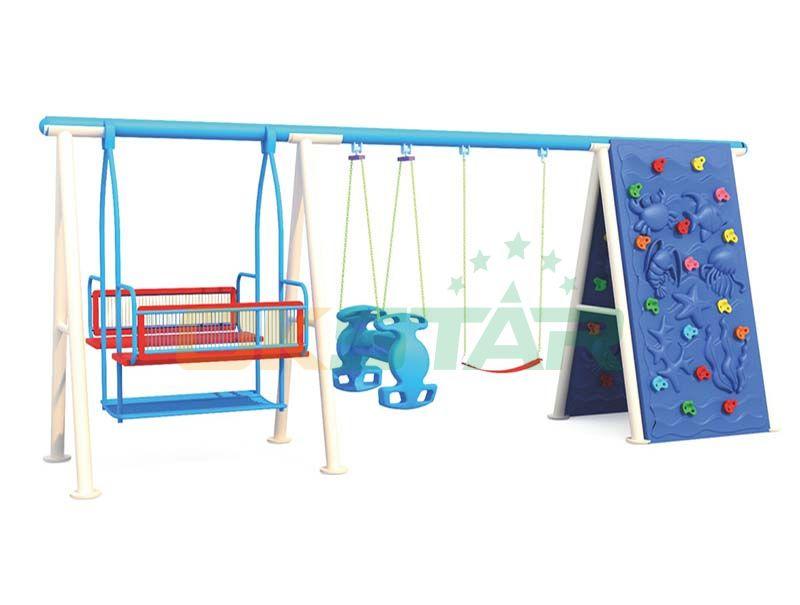 metal swing and slide set