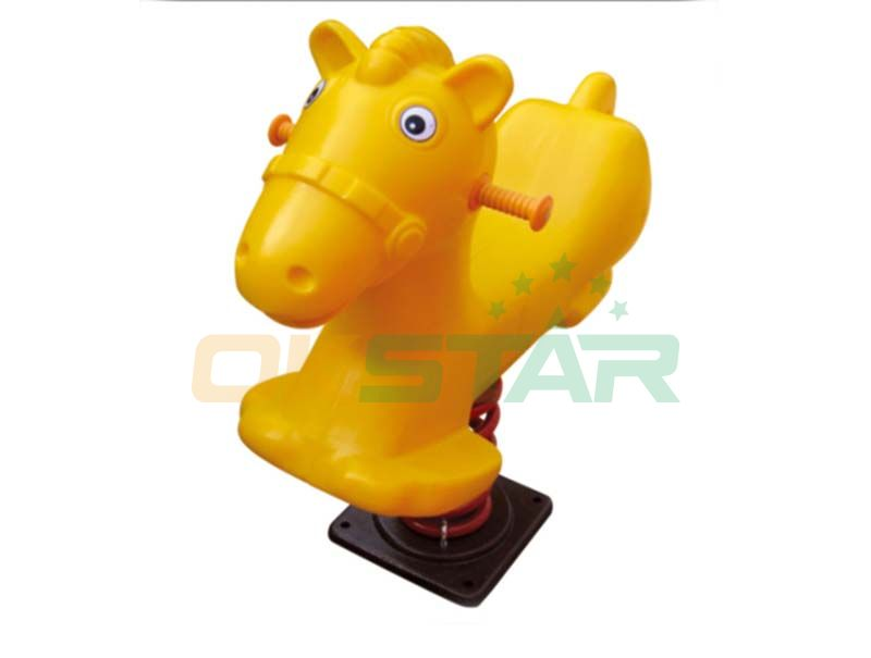 Yellow horse design spring rider for park