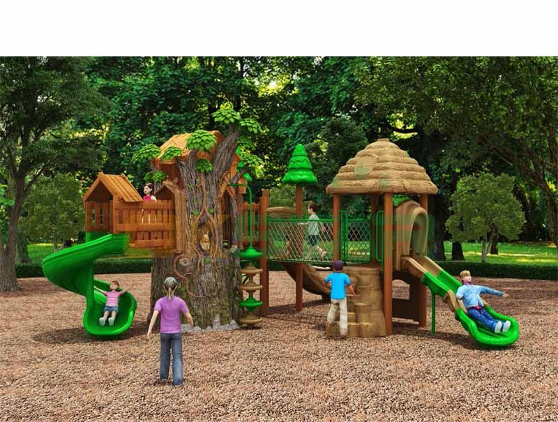 FRP Tree house with plastic durable kids slide equipment outdoor