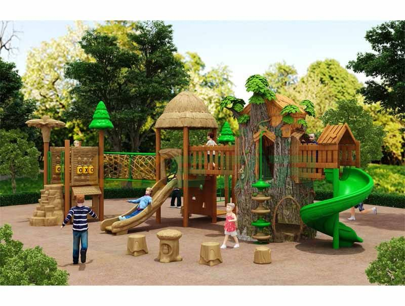 Straw color with fancy natural design with FRP tree house and slide playground sets