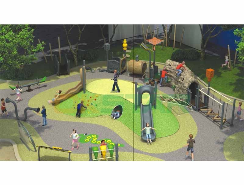 Mine cave Theme with plastic slide and outdoor play equipment for kids play