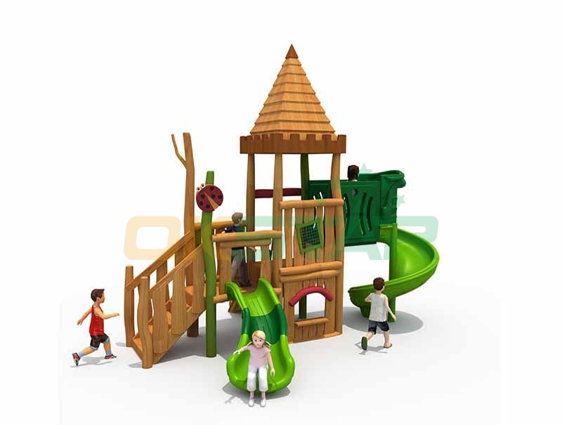 wood plastic composite playground outdoor wood children playground equipment kids wood playground