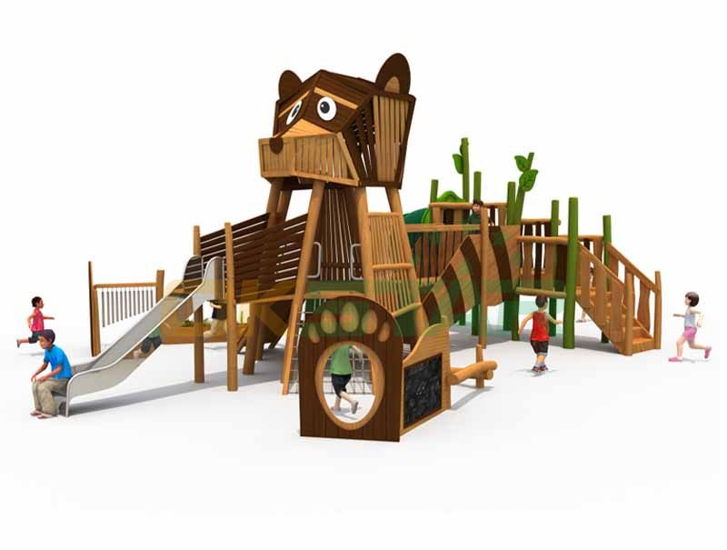 Wooden dog shape playground wooden playground equipment for kids