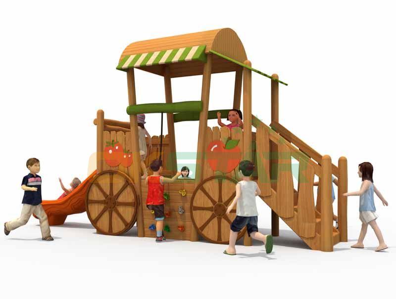 Children wooden playground outdoor equipment for kids