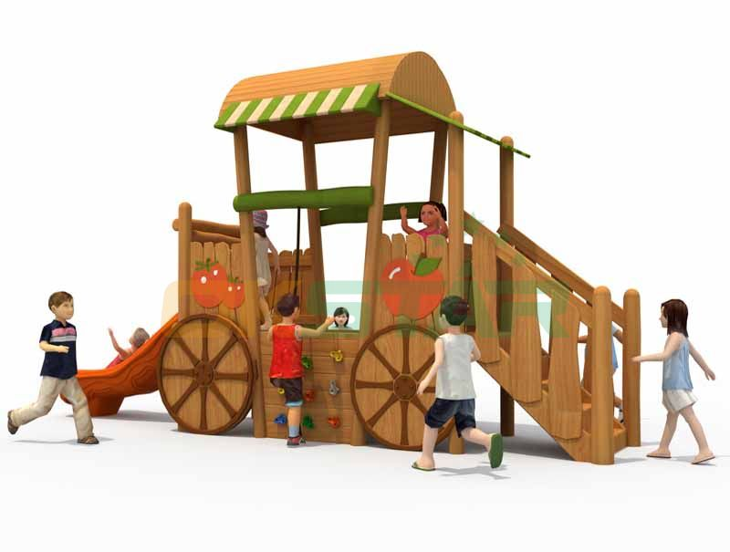 Children wooden playground outdoor equipment for kids
